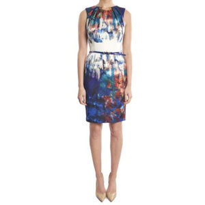Joseph Ribkoff Watercolor Sleeveless Sheath Dress